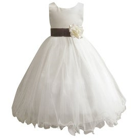Wedding Easter Flower Girl Dress Wallao Ivory Rattail Satin Tulle (Baby - 14) Gray Mercury