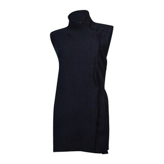 Alfani Women's Faux Leather Trim Wool Vest