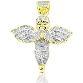 Yellow Gold-Tone Angel Pendant With CZ 26mm Tall By MidwestJewellery