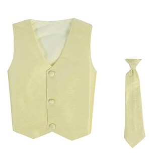 Baby Boys Yellow Poly Silk Vest Necktie Special Occasion Set 3-24M