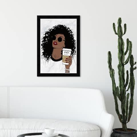 Wynwood Studio '34567 Fierce and Female Coffee' Fashion and Glam Wall Art Framed Print Accessories - Brown, Gold