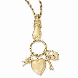 Goldtone Polished Hand Multi-Charm & Locket Necklace - 30in