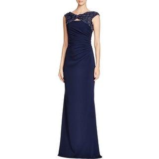 Badgley Mischka Womens Evening Dress Sequined Ruched