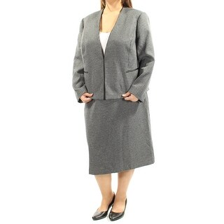Womens Black Gray Houndstooth Below The Knee Pencil Wear To Work Skirt Suit Size 16