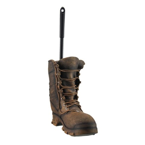 Clean Latrine Brown Military Boot Toilet Brush and Holder Set