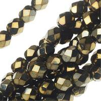 Czech Fire Polished Glass Beads 6mm Round Brown Iris (25)