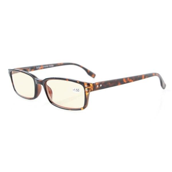 Eyekepper Classical Rectangular Frame Spring-Hinges Eyeglasses(DEMI, Yellow Tinted Lenses)+1.50