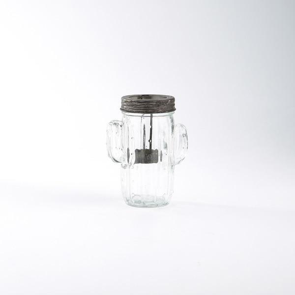 "5.5"" Clear Handblown Glass Jar Shaped Candle Holder - N/A"