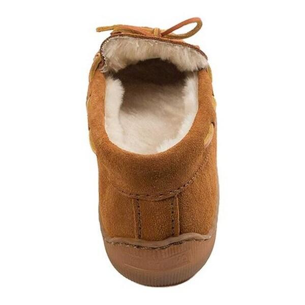 Regular Minnetonka Men/'s Pile Lined Hardsole Slippers Brown Mens 12