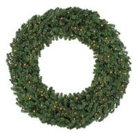 "60"" Pre-Lit Commercial Canadian Pine Artificial Christmas Wreath - Clear Lights - green"
