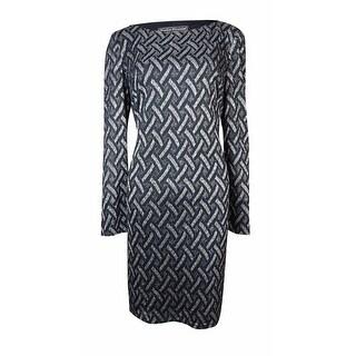Jessica Howard Women's Metallic Weave-Pattern Knit Dress