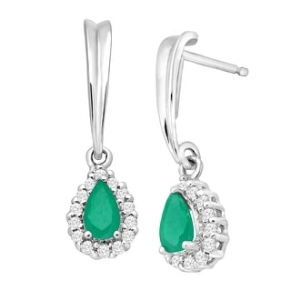 3/8 ct Natural Emerald & 1/6 ct White Sapphire Drop Earrings in Sterling Silver - Green