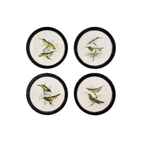 Birds on Twigs Wall Decor in Distressed Black Round Frame (Set of 4 Images) - Beige