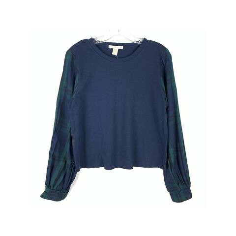 SEVEN SISTERS Womens Navy Mixed Media Long Sleeve Sweater Size M