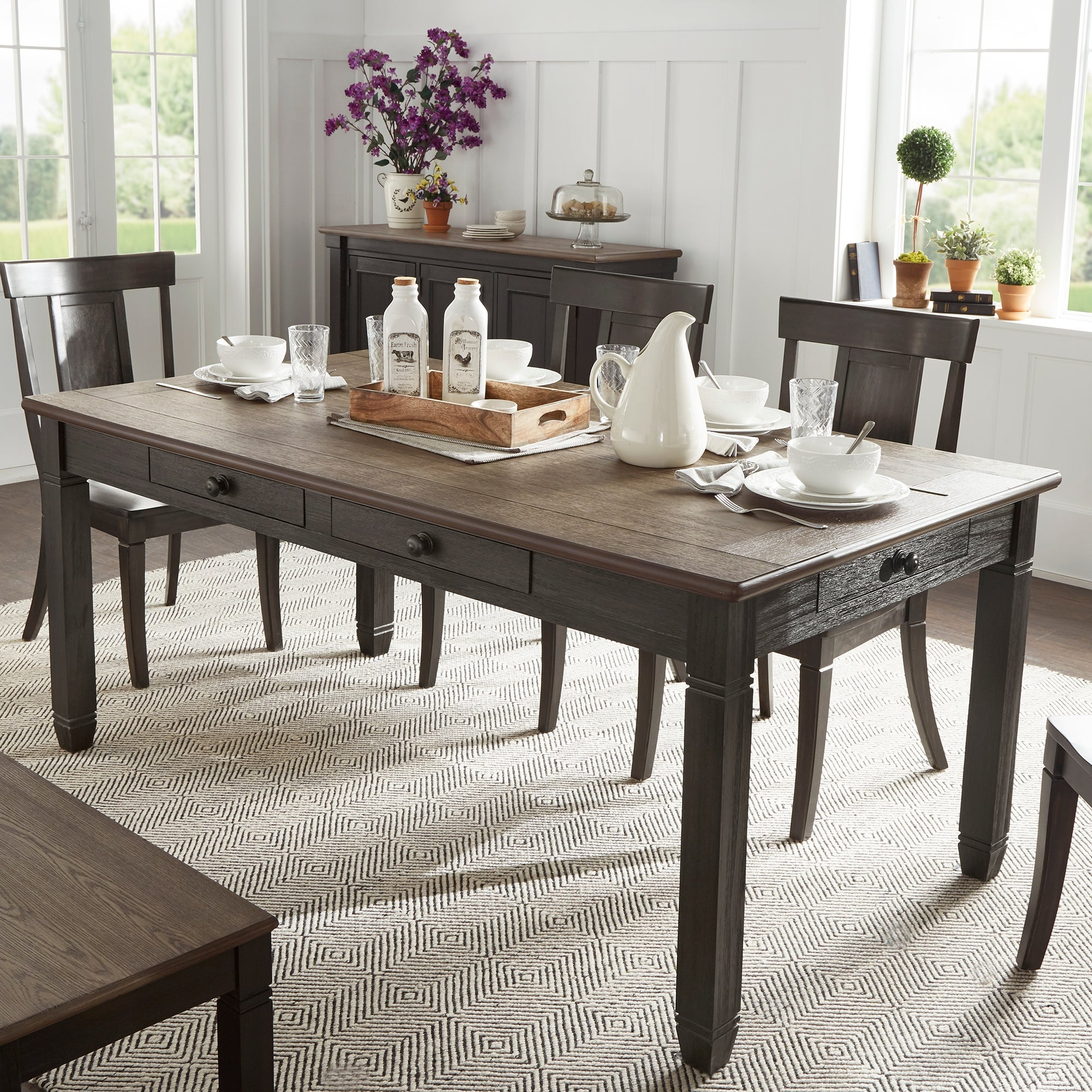 The Gray Barn Gamgee Grange Brown And Antique Finish Dining Table With 6 Drawers Overstock 28263492