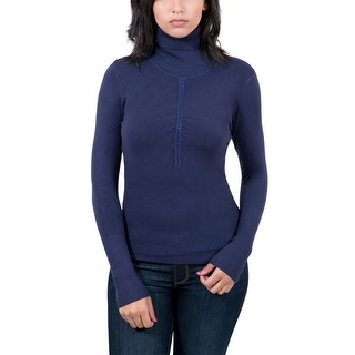 Maglierie Di Perugia Navy Blue Crystal Roll Neck Womens Sweater