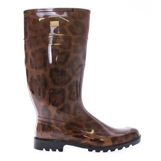 Dolce & Gabbana Brown Leopard Rubber Rain Boots - 41