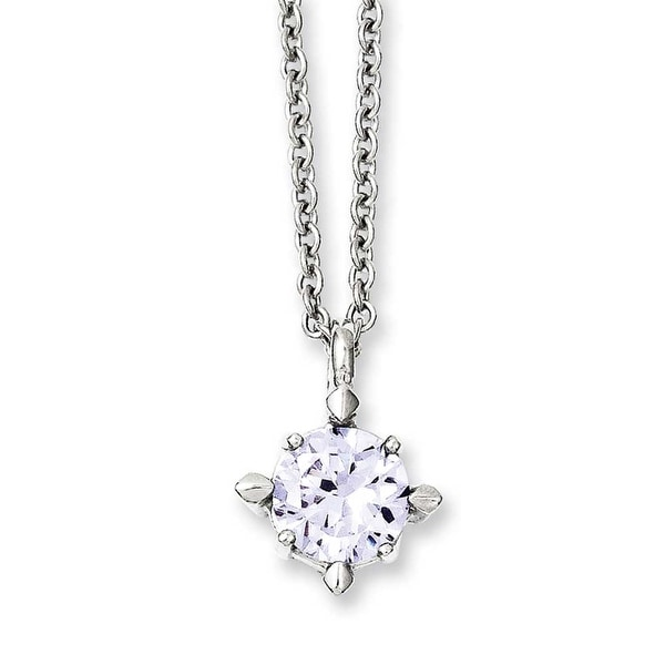 Chisel Stainless Steel Lavender CZ Pendant 18in Necklace (2 mm) - 18 in