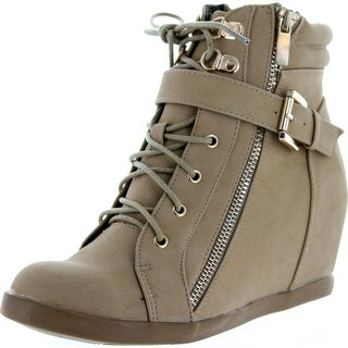 Top Moda Womens Peter-1 Fashion Wedge Sneakers