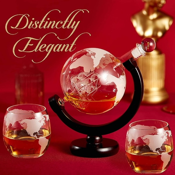 Cheer Collection Globe Etched Whiskey Decanter With Interior Hand-Crafted Glass Ship - Gift Set with Globe Glasses. Opens flyout.