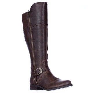 G GUESS Hailee Wide Calf Riding Boots, Dark Brown