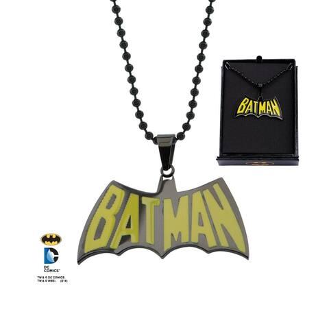 "DC Comics Batman Black/Yellow Logo Stainless Steel 22"" Chain Pendant Necklace - Black"