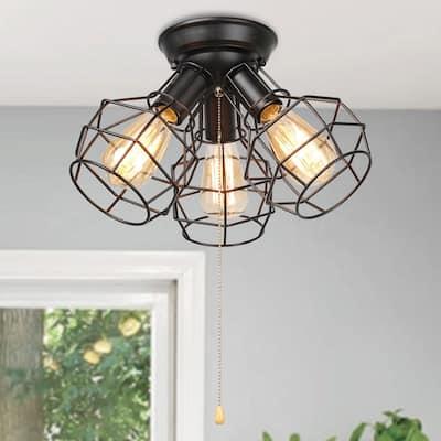 "Carbon Loft Memnet Wire Cage 3-light Pull String Flush Mount Ceiling Lights - W15""xH9.5"""