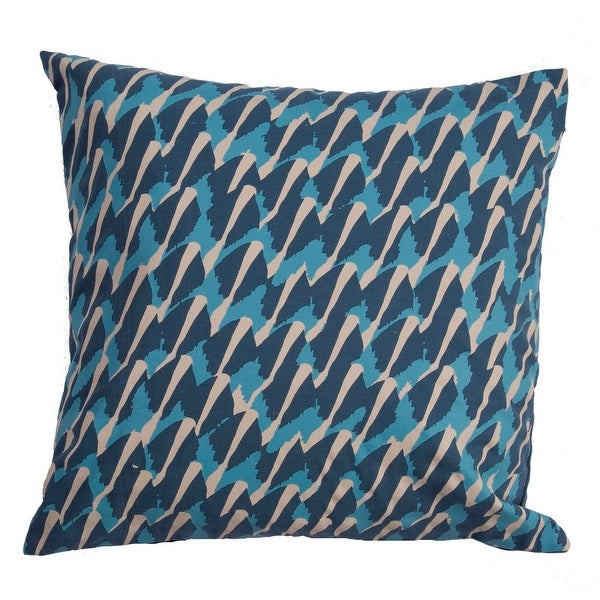 """20"""" Teal Oatmeal White and Ultra Blue Abstract Decorative Throw Pillow"""