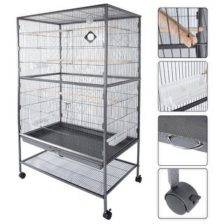 Fur Family Parrot Cage Bird w/ Door Feeder with Wheel. Gray