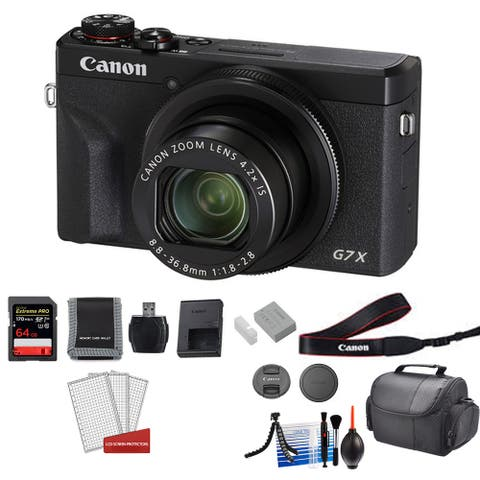 Canon PowerShot G7X Mark III Camera (Black) with 64GB Memory Card