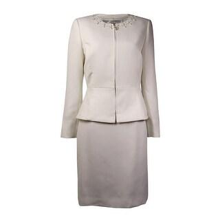Tahari Women's Bead Embellished Solid Skirt Suit