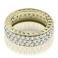 1.17 cttw. 14K Yellow Gold Three Row Vintage Style Round Diamond Eternity Ring - Thumbnail 0