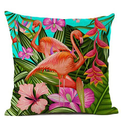 "Tropical flamingo and Plant decorative throw pillow cover for Couch or Sofa 18"" x 18"""
