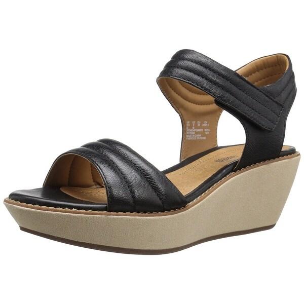 CLARKS Womens Hazelle Alba Leather Open Toe Casual Platform Sandals