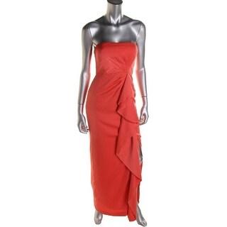 BCBG Max Azria Womens Ila Satin Ruffled Formal Dress - 4
