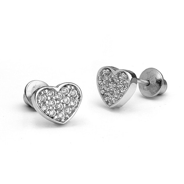 d8cb100e2 Shop 925 Sterling Silver Mini Heart Screwback Baby Girls Earrings - Free  Shipping On Orders Over $45 - Overstock - 12252613