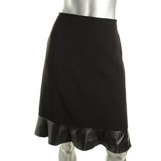 Tahari ASL Womens Kevin Ponte Faux Leather Trim Pencil Skirt - 12