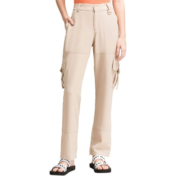 DKNY Womens Solid Casual Cargo Pants, Beige, 2. Opens flyout.