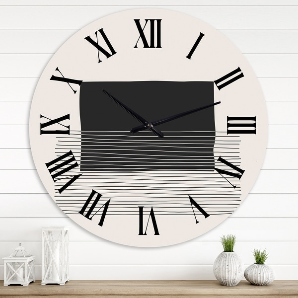 Designart 'Minimal Geometric Lines and Squares VIII' Modern wall clock. Opens flyout.