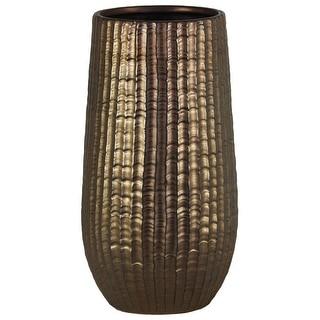Cylindrical Stoneware Vase With Engraved Zigzag Design, Large, Bronze
