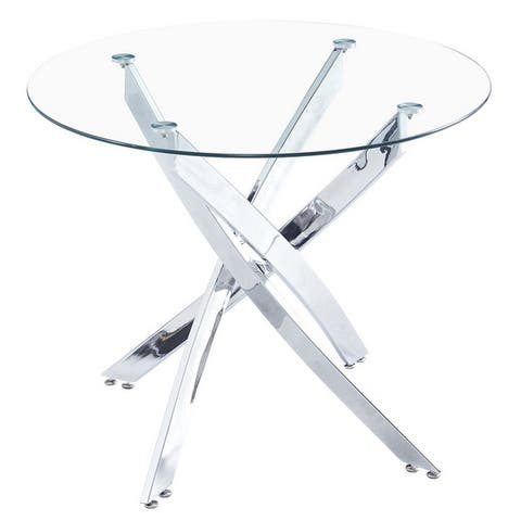 Round Tempered Glass Dining Table with Cross Legs