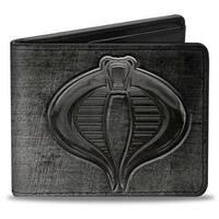 Gi Joe Cobra Logo + Cobra Weathered Gray Bi Fold Wallet - One Size Fits most