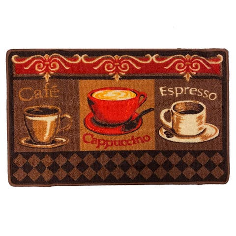 Cappuccino Printed Skid Resistant Decorative Kitchen Rug, Brown, 18x30 Inches