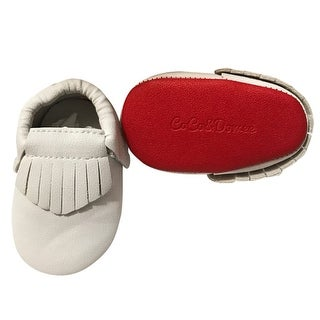 Baby Girls White Red Soft Sole Faux Leather Tassel Moccasin Crib Shoes 3-18M