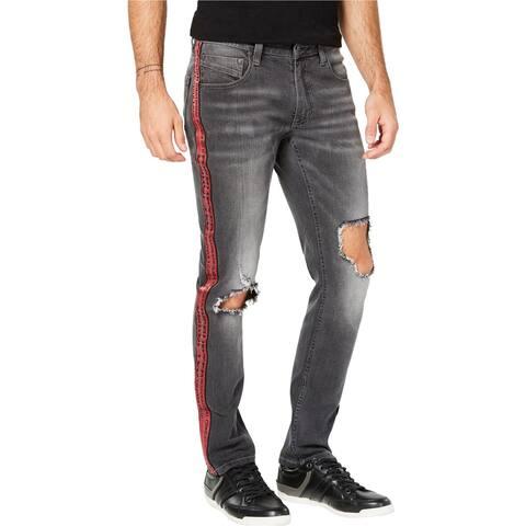 I-N-C Mens Ripped Side Stripe Skinny Fit Jeans