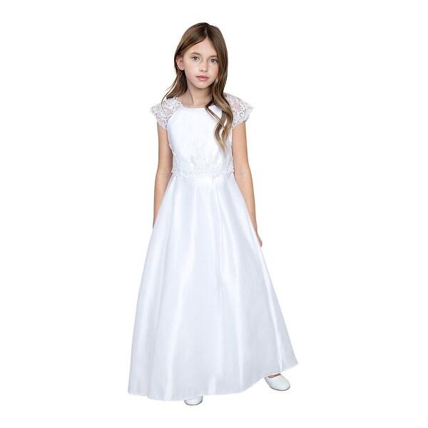 da681decfa Girls White Satin Lace Sleeves Communion Junior Bridesmaid Dress