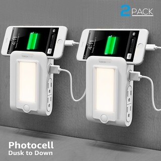 2 PACK Wall Mount Charger, 2 USB & 4 AC Charging Outlets with LED Night Light