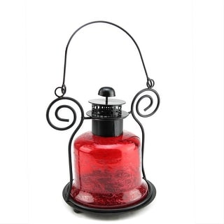 "Link to 9.25"" Decorative Distressed Red Bell Shaped Glass Tea Light Candle Holder Lantern Similar Items in Decorative Accessories"