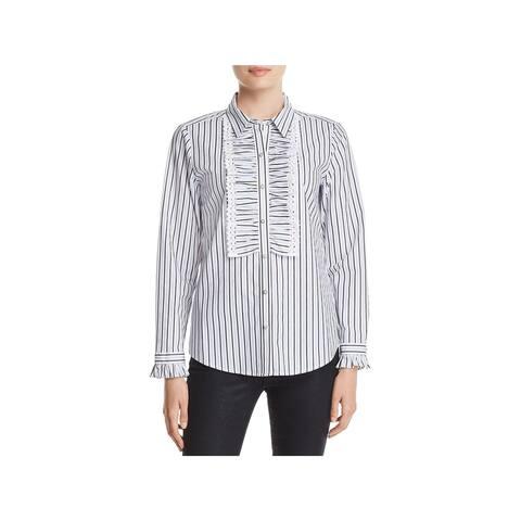 Karl Lagerfeld Womens Button-Down Top Cotton Striped