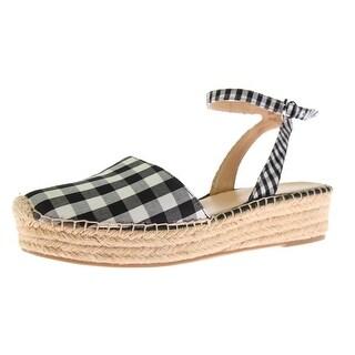 Franco Sarto Womens Lariza Canvas Striped Platform Sandals